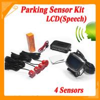 4 Sensors English Human Voice LCD Parking Sensor Kit Real Person Speech 22mm Car Reverse Backup Radar System 12V Free Shipping