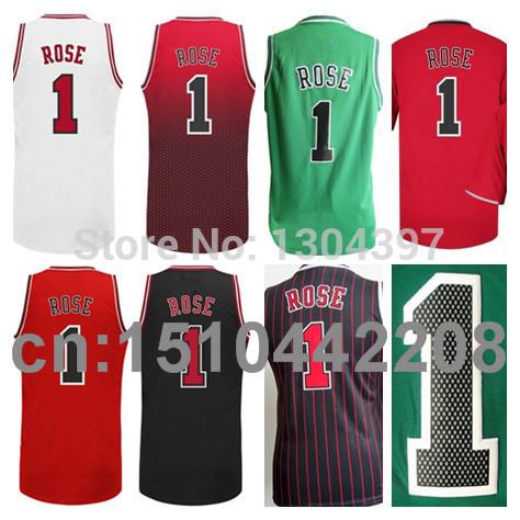 Cheap 2014 2015 Derrick Rose Basketball Jersey Shirt Uniform #1 Chicago Rose Jerseys Black Red White Green Fashion(China (Mainland))