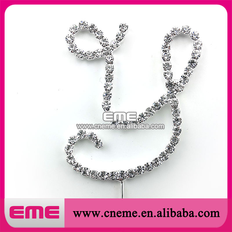 Hot selling letter Y rhinestone cake toppers for wedding(China (Mainland))