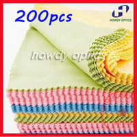 200pcs 14x14cm Colorful glasses lens eyeglasses eyewear microfiber cleaning cloth Free Shipping
