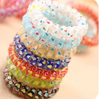 Min.order is $5 (mix order)Free Shipping,Korean Candy Colored Telephone Line Elastic Hair Ties Jewelry OH0057-heart