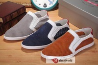 2014 men's cowhide punching breathable comfortable Flat casual shoes