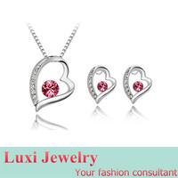 Luxury Heart Crystal  Jewelry Set Necklace Pendant Stud Earrings  Set Fashion European Statement Jewelry 2014