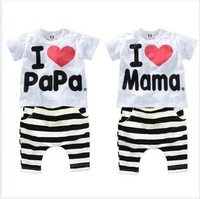 Retail 1set! 2014 Children Clothing Summer Set boys girls I Love Papa and Mama short sleeve t-shirt+pants suit kids pajamas set