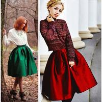 High Quality 2014 New Women Vintage High Waist A-line Ball Gown Midi Pleated Skater Satin Skirt Neon Color Length 60cm / 75cm