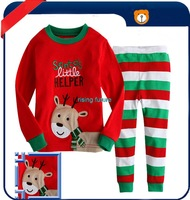 T125 New Arrival Fashion Cute Deer Stripe Pants Christmas Clothes Layered Baby Cloth 2pcs/1set(undershirt + pants)