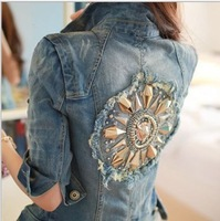 Free Shipping  2014 Spring New Korean Female Short Paragraph Jacket Denim Jacket Women Coat Rivet Jean Jacket #Z2206