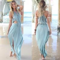2014 Featuring A Drawstring Fastening Under The Bust Irresistible Khaki Maxi Dress Sexy Summer Cute Dress