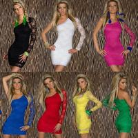 7 Colors Sexy Nightclub Dresses Summer 2014 Sexy Women's Party Evening Lace One Shoulder Mini Dress Plus Size S,M,L,XL,2XL