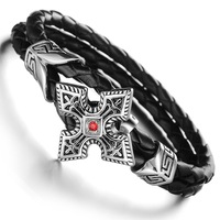 Black Dual Rope Chain Leather Bracelets Exaggerate Cool Unisex Bracelet Cross Fleur-de-Lis Wristband Stainless Steel Jewelry