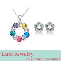 Luxury  Crystal Sweet Round Jewelry Set Necklace Pendant Stud Earring  Set Fashion European Statement Jewelry 2014