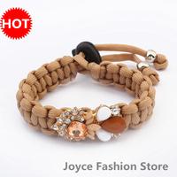 Min. Order $10,Fashion Bracelet 2014,Fancy Brand Jewelry Gift Charms handmade Woven Rhinestone Bracelets,B59