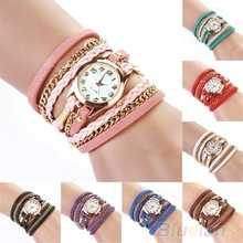 2014 New FAshion Hot Colorful  Vintage  women watches  Weave Wrap Rivet Leather Bracelet wristwatches watch 02T4(China (Mainland))