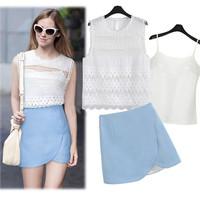 Women clothing set crotch cutout chiffon vest irregular short skirt crop top and skirt set fashion women zara2014 summer X140