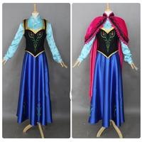 Free Shipping New 2014 Custom Made Movie Cosplay Fatasia Festa Frozen Party Princess Anna Costume Women Frozen Anna Dress