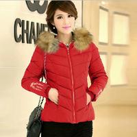 NAIULA New 2014 Plus Size Fashion Down & Parkas Winter Coat Women Short Slim Fur Collar Hooded Cotton Coat Parka Female AS1252