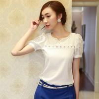 New 2014 spring summer blouses v-neck women chiffon blouse plus size Solid Fashion backing shirt free shipping B023 size S-XXL