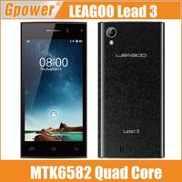 New Original LEAGOO Lead 3 MT6582 Quad Core Android 4.4 Mobile Phone 512MB+4GB 4.5 inch 960*540 Camera 5MP GPS Dual SIM 3G WCDMA