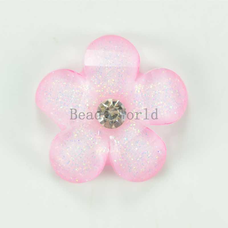 50 Pcs Pink Flower W Rhinestone Resin Flatback Scrapbook Embellishment 16mm DIY Kid Hair Accessories Jewelry