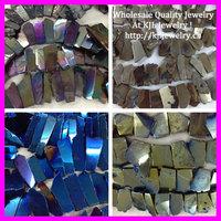 8 Strand Mix Color Titanium Quartz Crystal Freeform Shape Flat Slab Stone Beads