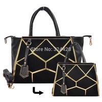 4 color New 2014 Women Handbags Designer Spliced Tote Bag With Metal Detail Fashion Shoulder  Bags  Free Shipping VK1459