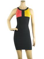 Hot!! Free Shipping /2013 new Black round neck stitching bandage dress prom birthday party dress