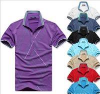 2014 summer new men's short-sleeved T-shirt bottoming shirt lapel loose pieces printing