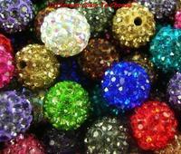 10mm white black mix clay mixed color rhinestone crystal Shamballa Beads bracelet spacer lot fashion hot necklace making
