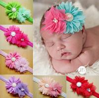 Free Shipping Baby Kids Mesh Chiffon Double Flower Headband Hairbands Hair Accessories Wholesale