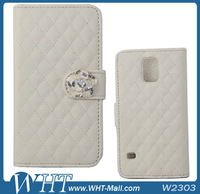 50X Flip Leather Case Diamond Wallet PU Leather Cove for Samsung Galaxy S5 i9600 Flip Leather Case