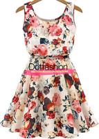 New 2014 Summer Women's Sexy Brand Celebration Work Wear High Fashion Apricot Sleeveless Round Neck Florals Print Cute Dress