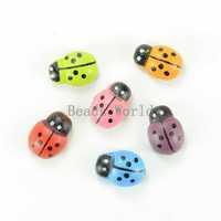Wholesale ! 200 Pcs Mixed Painted Ladybug Self-Adhesive Wood Scrapbooking Ornament 13x9mm DIY Flatback Decoration (W03858 X 1)