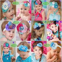 2014 new arrival infant baby lovely headband children frozen Anna& Elsa flower  Bright diamond headdress10pcs/lot