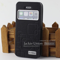 Fashion PU Leather Flip Hard Ring Pattern Style Cover Case For iPhone 5G 5S Stand Flip Original View Window