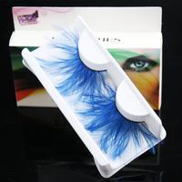 Exaggerated stage makeup art form blue feather false eyelashes F099