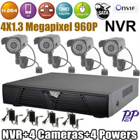 High Resolution CCTV System  NVR 4CH HD 960P with IR Night Vision  Waterproof Bullet  IP Camera