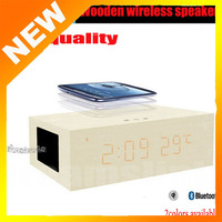 Wireless Wood Speaker with Hands free Time Display Alarm clock special function Subwoofer Bluetooth stereo speaker for iPhone