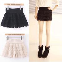 Women shorts high waist shorts lace cutout crochet shorts layered women pants female safety pants basic 2014 women shorts X08