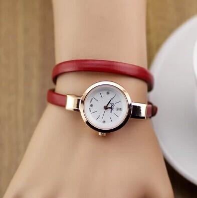 Lederarmband armband kleid zu sehen frauen damenmode strass analog quarz armbanduhr relogio feminino Geschenk/uhren/reloj.