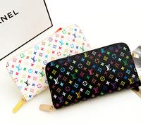 genuine leather L Famous Brand wallets Zipper Plaid purse women clutch(Black White)