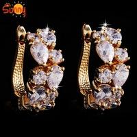 EU Luxury jewellery  18K yellow  Gold  Plated hoop  Earrings for gift  1pair