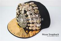 Aliexpress Muse Online wholesale metal owl  Snapback snapback hip hop RIVET Snapback in korean style with 4  colors