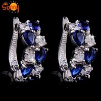 exaggerate white sapphire &blue sapphire  18K white  Gold  Plated hoop  Earrings for gift  1pair