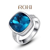 Roxi jewelry austria crystal square-fashion platinum blue ring   2010223480