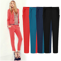 Hot Sale New 2014 European style Brand Casual Women Pants Solid Color Elastic Waist Comfy Full Length Harem pencil pants