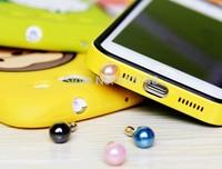 Wholesale 100pcs Pearl Dust plug,Rhinestone Alloy Fashion Phone Crystal Female Cheap Pearls Silver Dust Plug Earphone Dust Jack