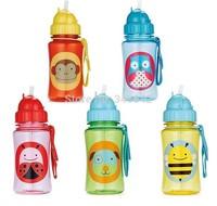 350ML Chokecherry Children Cartoon Animal Straw Cup Kids Water Bottle Drinking Cup Leak Proof Sports Bottles