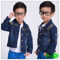 Hot sale boys denim jacket autumn 2014 children casual patchwork letters denim coat outwear  (3-8 years) Free shipping !