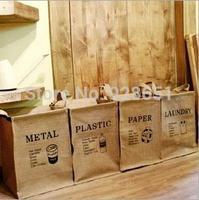 2014 New Arrival 30*28*40cm Ecru Color Eco Friendly Shabby Chic Vintage Creative Zakka Storage Bucket Dirty Cloth Classify Bins
