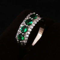 Wedding Ring Rhodium Plated Polish Rings For Women Fashion Brand Jewelry Green Zirconia Rings Accessories